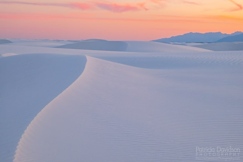 White Sands National Monument at sunet.